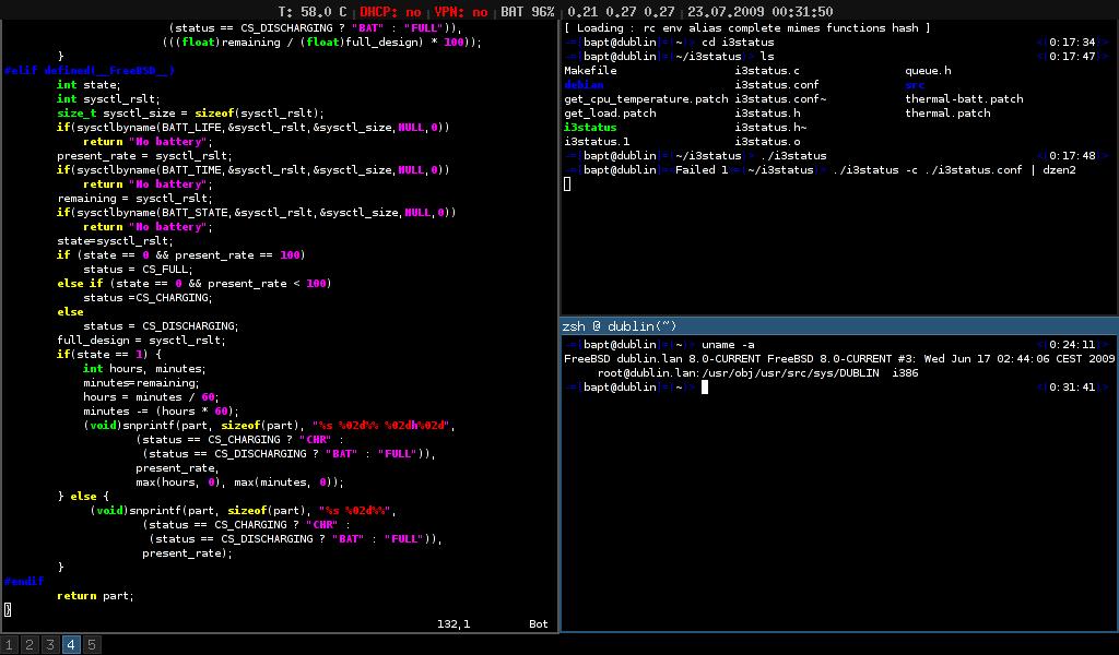 i3wm官网上的平铺式示例,各个窗口之前没有重叠,共同覆盖了整个屏幕空间